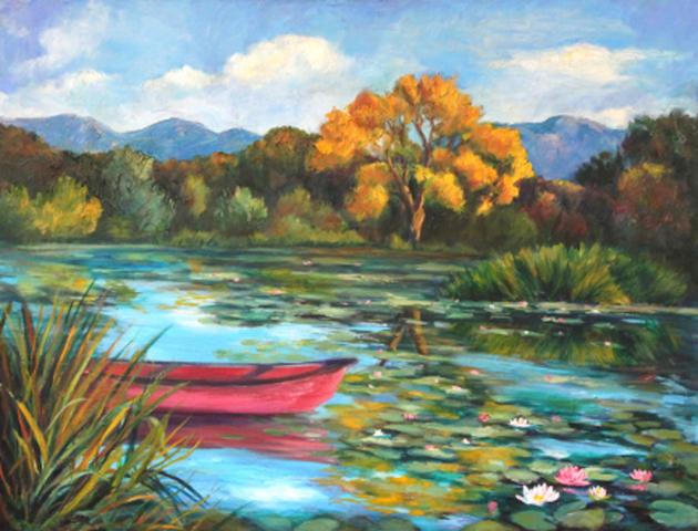 Golden Cottonwood Red Canoe, Marian Berg