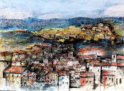 Roger DiCamillo: Orvieto - Watercolor/Collage