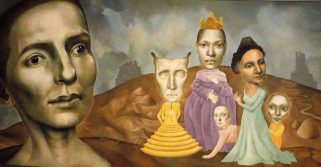 "Emily Trovillion - Antipedes, Acrylic on Canvas, $2900, 49 x 30"","