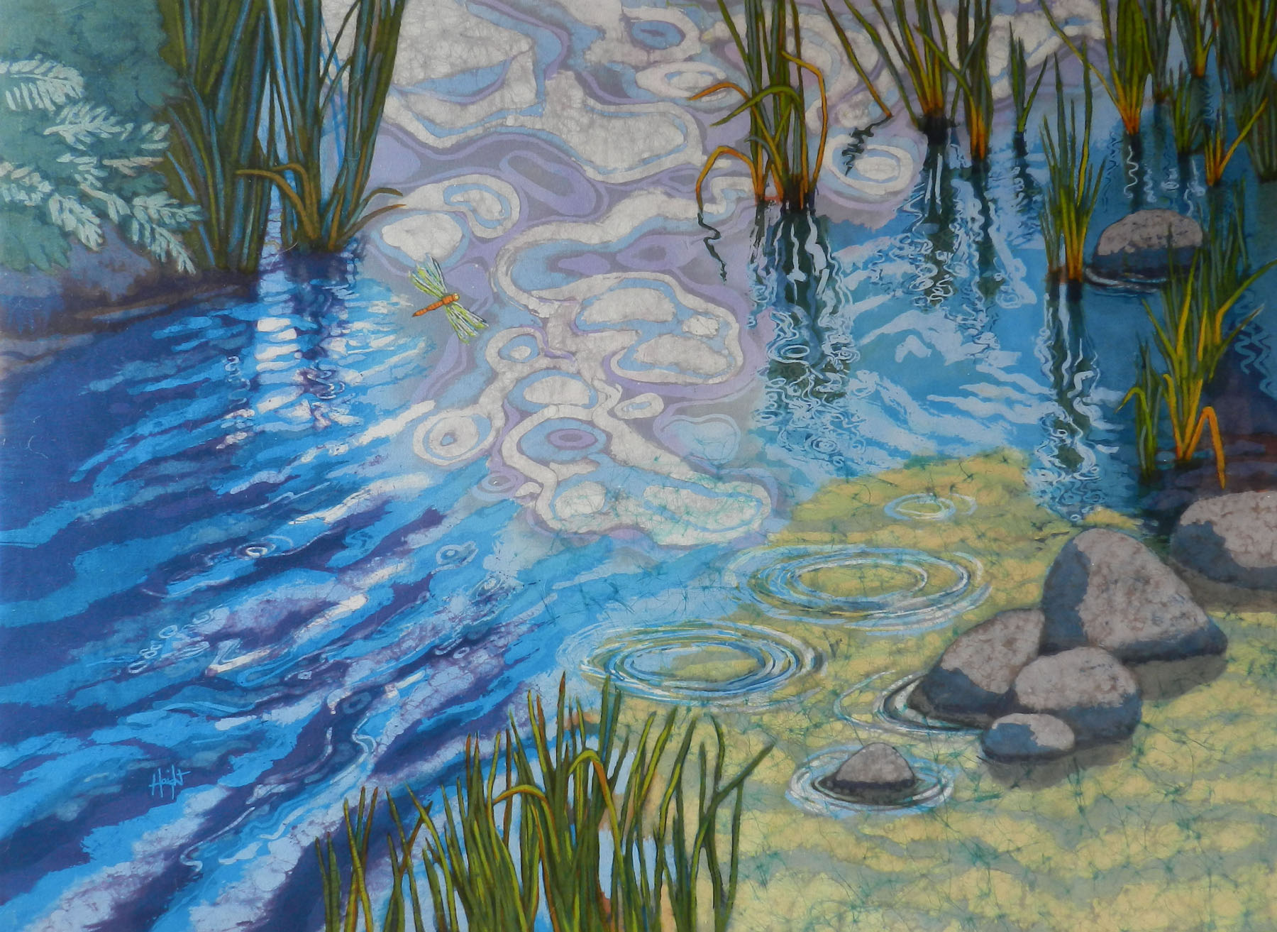 Cathy Haight: New Pond, Frog Jumps In