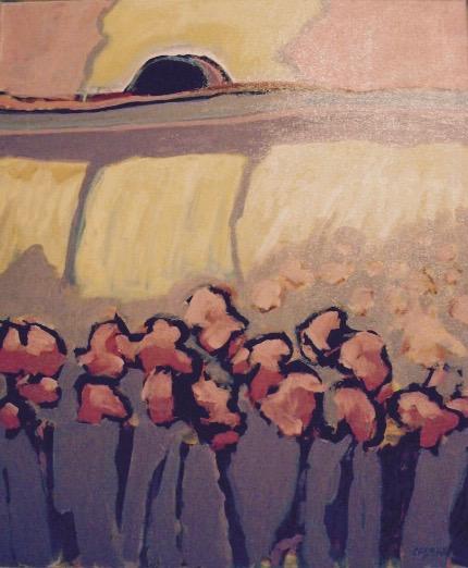 Edna Casman: Pink Flowers, Dark Sun