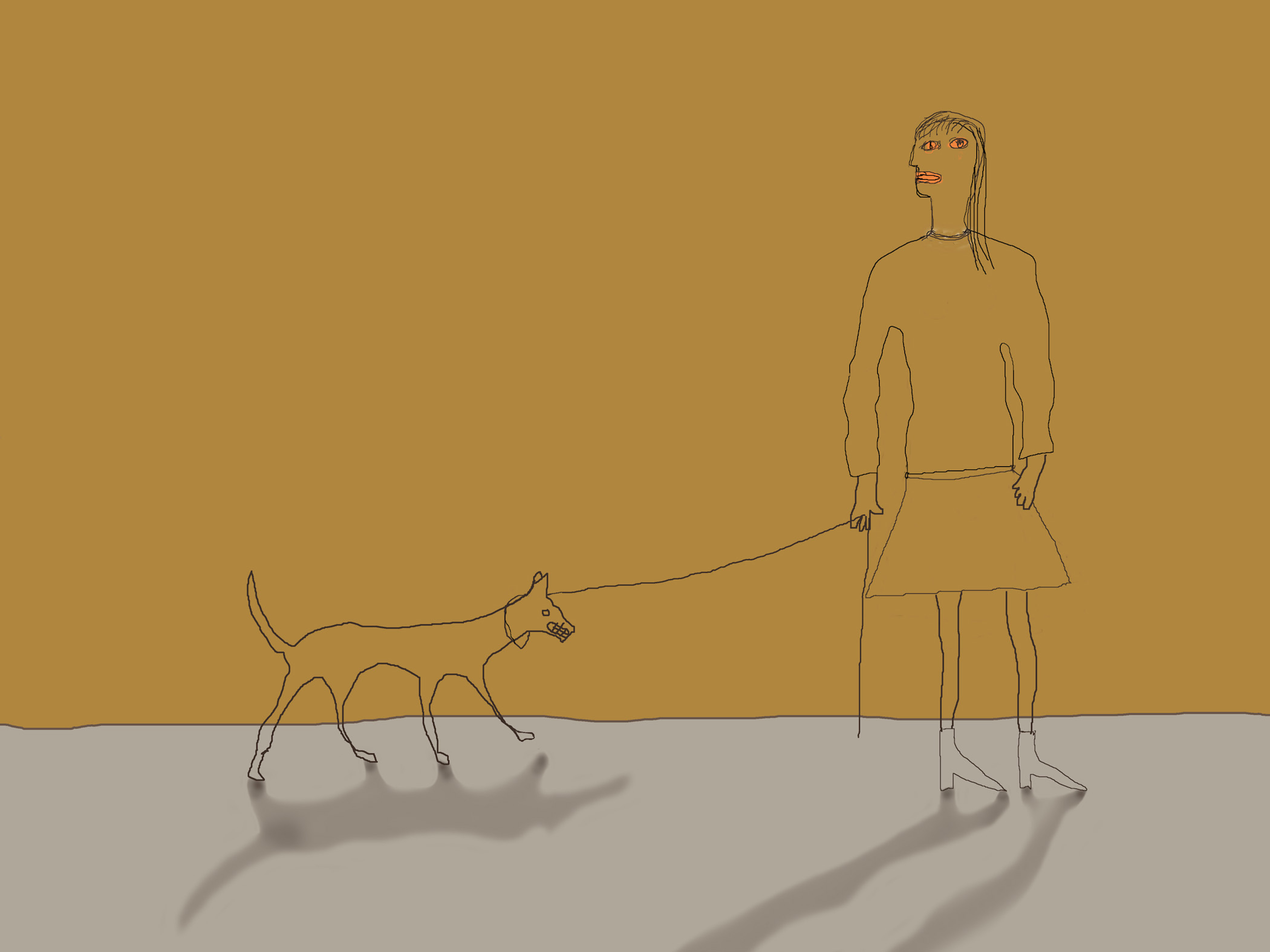 Holly Roberts: Woman with Small Dog on a Leash
