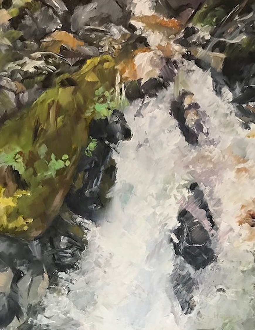 Carol Hopper: River Rapids with Moss Covered Rocks