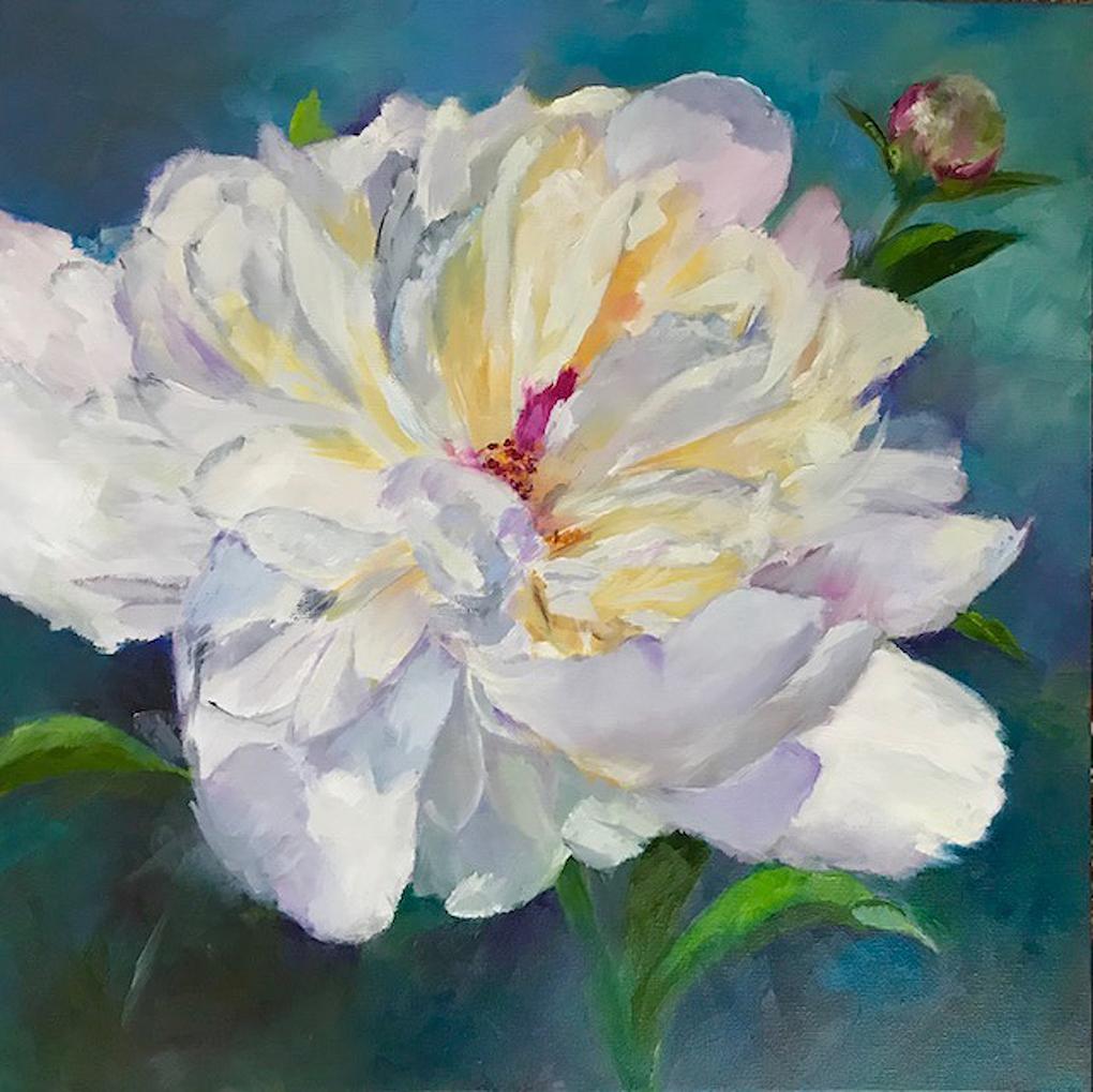 Carol Hopper: Solo Peony in White