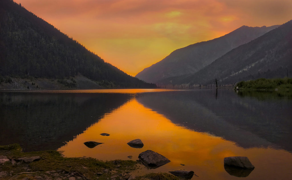 Kevin Black: Sunset over Quake Lake, MT