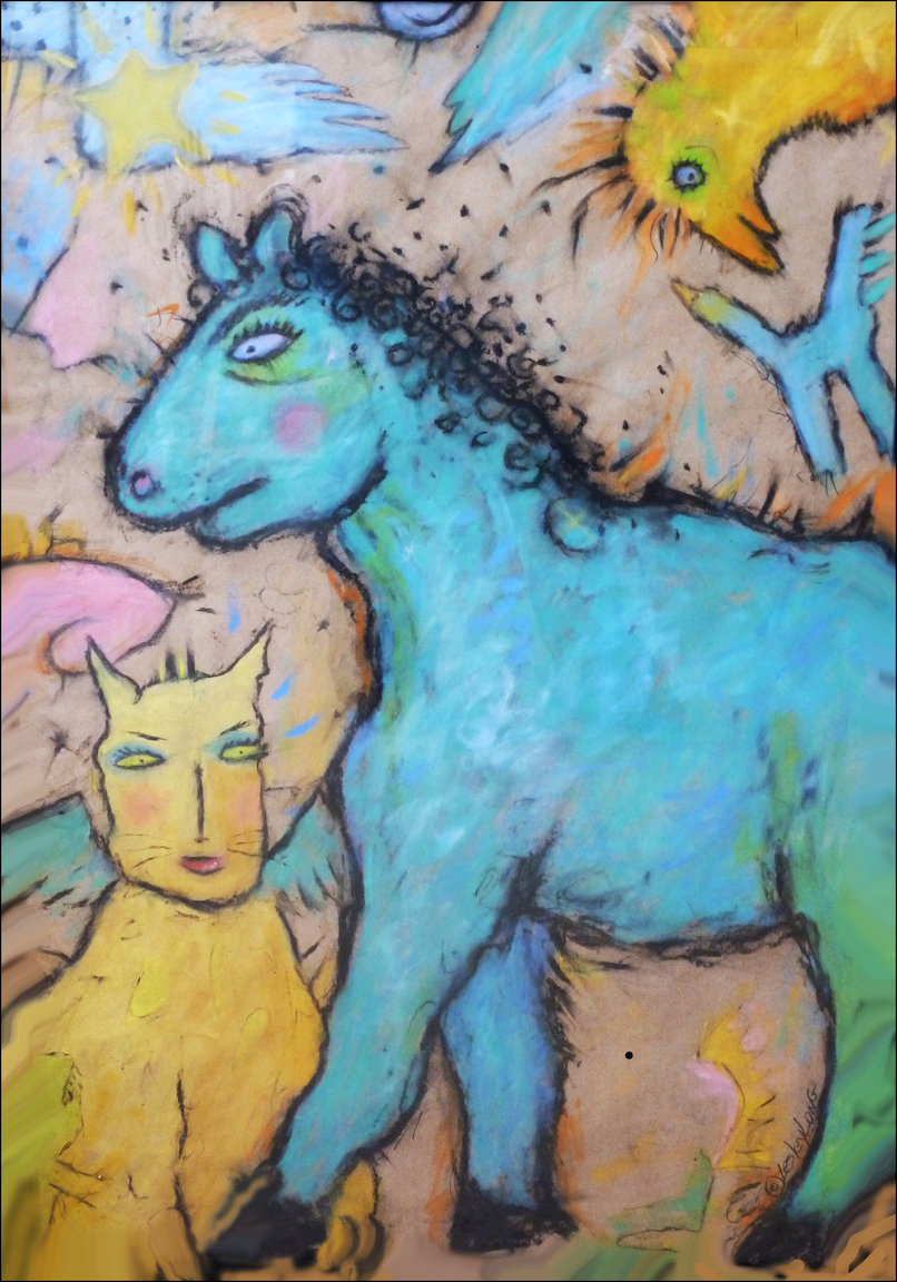 Lesley Long: Angel Cat with Blue Horse