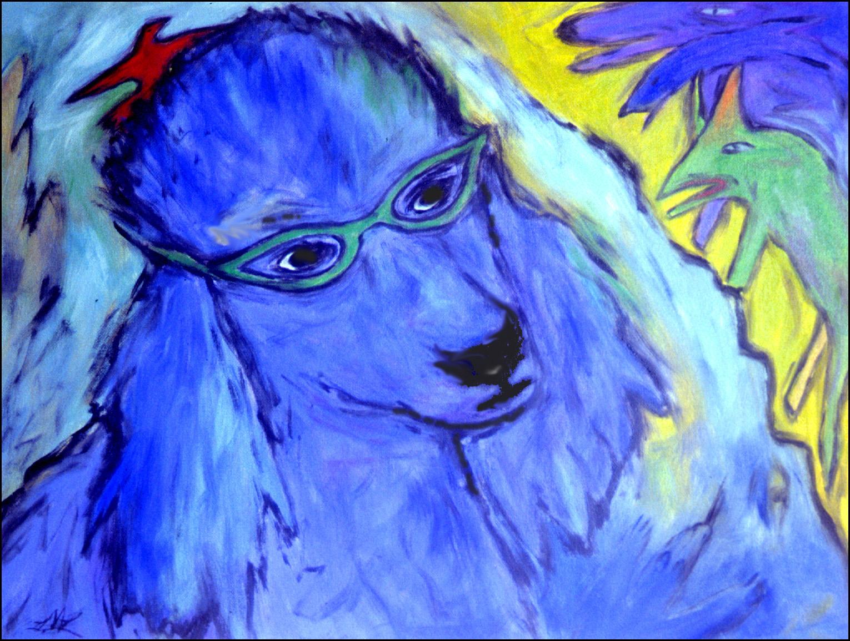 Lesley Long: Blue Boy (Dog Sheltering Little bird)