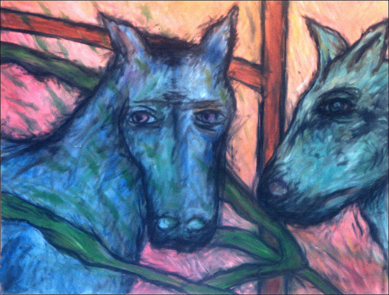Lesley Long: Blue Horses