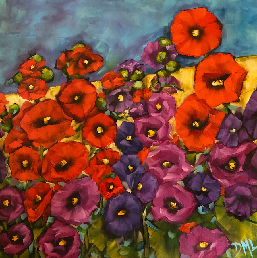 Dawn Lomako: Joyful Hollyhocks