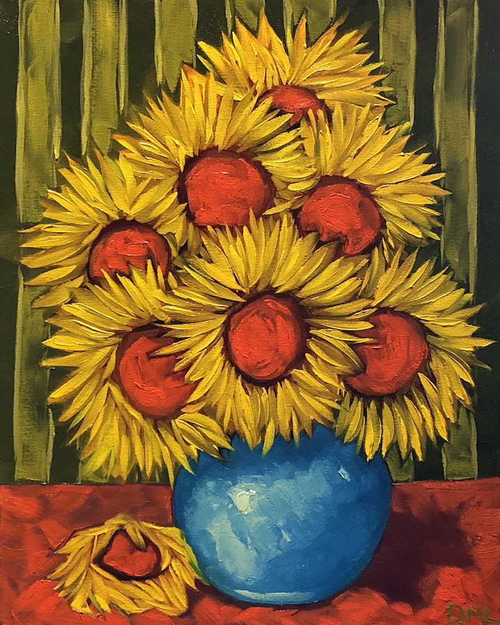 Dawn Lomako: Sunflowers and Stripes