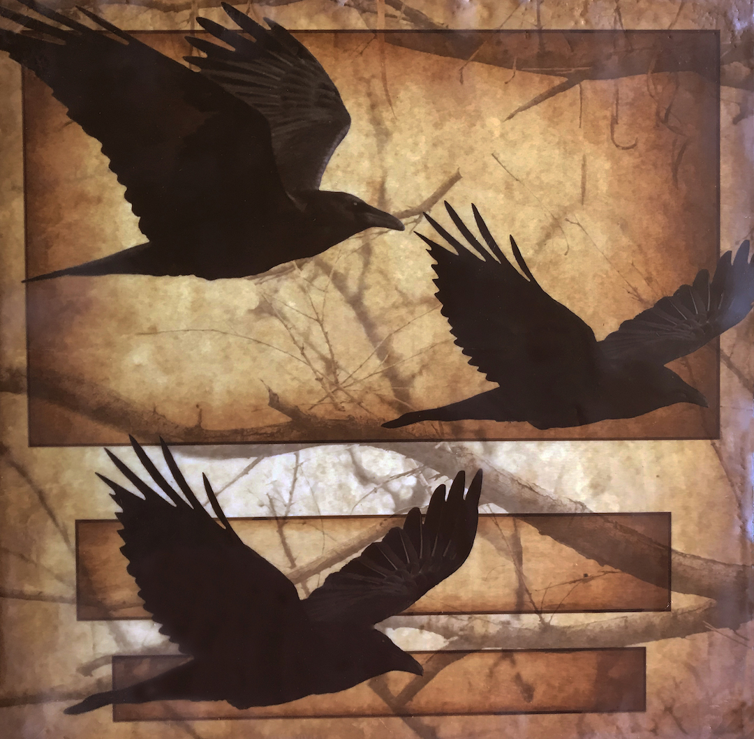 "Andrea Sharon: Raven Trio - Photo Encaustic & Pigments, $425, 13 x 13"" (framed), 2016"