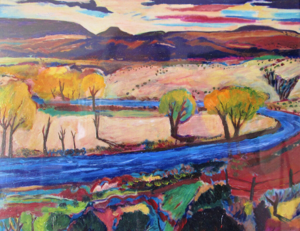 Reg Loving: Autumn Along the Chama River with Distant Pedernal