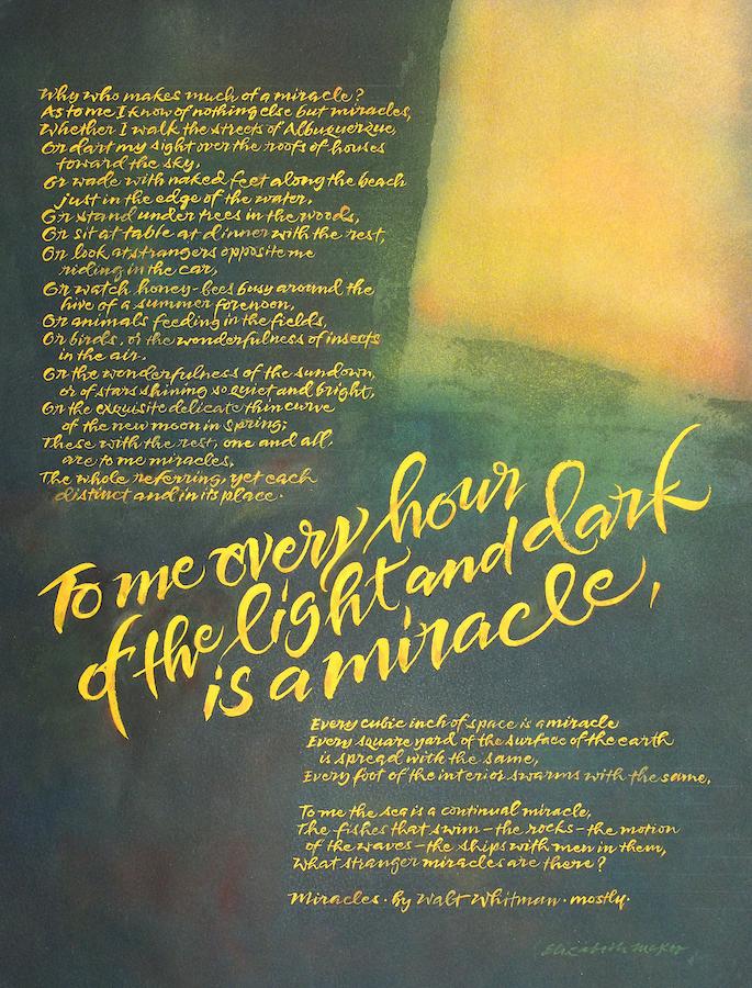 Elizabeth McKee: Miracles by Walt Whitman