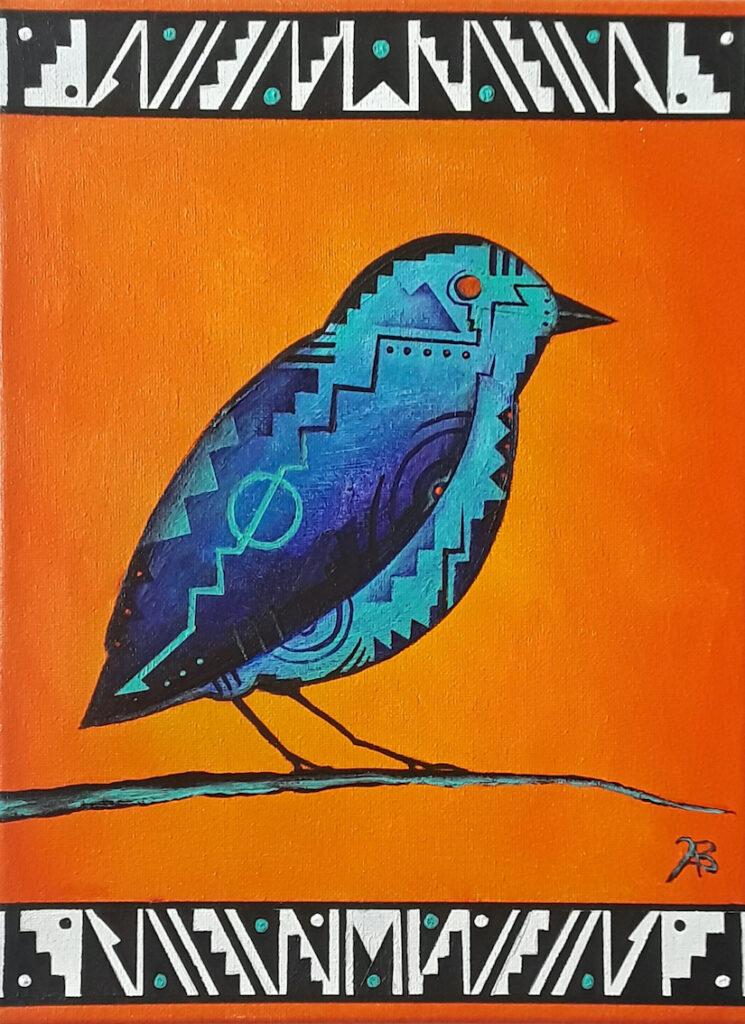 Brandon Allebach: Abstract Bird in Orange