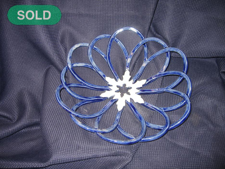 Rick Snow: Blue Snowflake Basket  SOLD