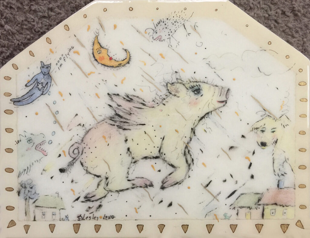 Lesley Long: Little Pig Flies Through Sky of Golden Moonbeams