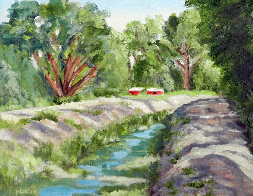 James Naugle: South Valley Acequia Morning - Red Barns
