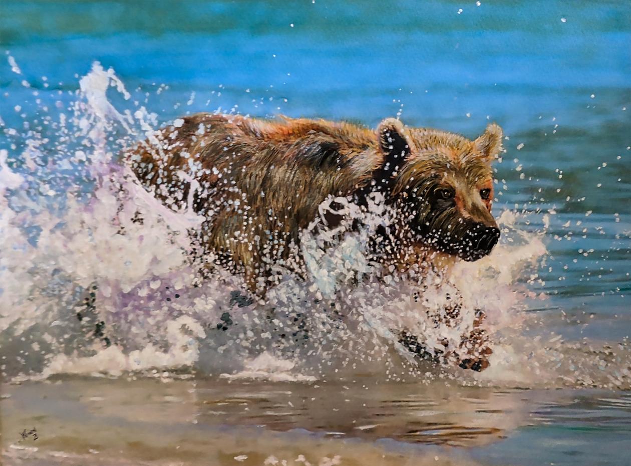Penny Winn: Bear Running in Water