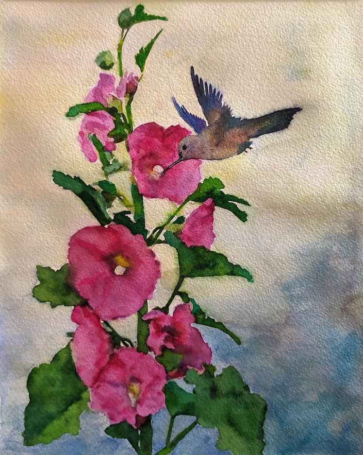 Penny Winn: Hollyhocks and Hummingbird
